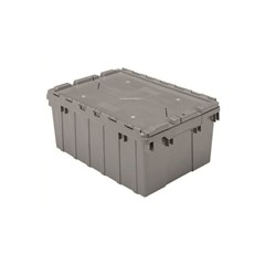 Akro-Mils Attached Lid Containers - 39085 - Gray - Qty: 6