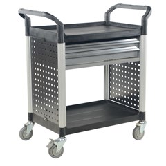 Commercial Cart 33X19 2-Shelf W/ Drawers