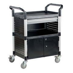 Commercial Cart 33X19 3-Shelf W/ Doors