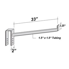 Accessories - Tool Holder 33In Single Arm With End Stop - Silver