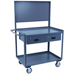 Two shelf service cart 30 x 36 with two drawers and pegboard