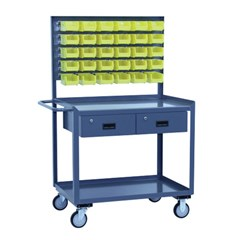 Two shelf service cart 30 x 36 with two drawers and louvered panel