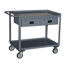Two shelf service cart 30 x 48 with two drawers