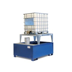 IBC Tote Spill Containment Sump - One-Tote, Steel with Platform and Stand