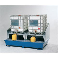 IBC Tote Spill Containment Sump - Two-Tote, Steel with Platform, Two-Stands and Splashguard