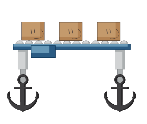 Conveyor with anchors for feet
