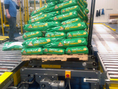 Pallet of Bags Misaligned on Conveyor
