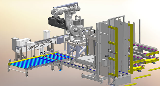 Palletizing batteries with an industrial robot