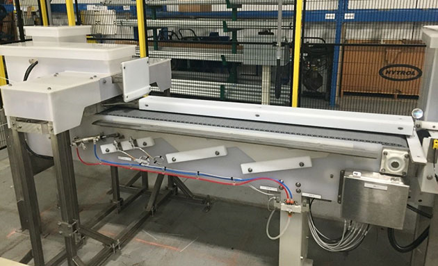 Conveyor used to form rows of product