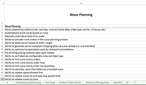 wave planning spreadsheet example